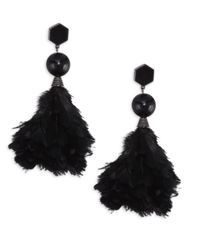 Tory Burch | Black Feather Drop Earrings | Lyst