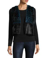 Elie Tahari | Black Cassidy Leopard Print & Goat Fur Vest | Lyst
