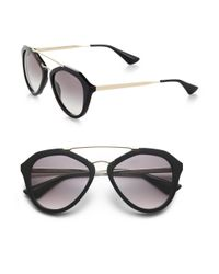 Prada - Black 54mm Mirrored Aviator Sunglasses - Lyst