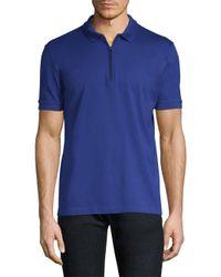 Pal Zileri - Blue Knit Zip Polo Shirt for Men - Lyst