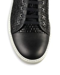 Lanvin - Black Embossed Leather & Rubber Sneakers for Men - Lyst
