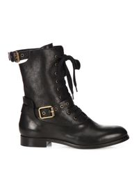 Chloé | Black Leather Combat Boots | Lyst