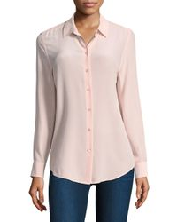 Equipment - Pink Long Sleeve Blouse - Lyst