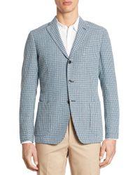 Saks Fifth Avenue - Blue Hatch Stitch Coat for Men - Lyst
