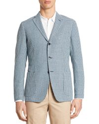 Saks Fifth Avenue - Blue Hatch Stitch Coat for Men - Lyst