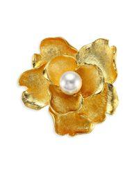 Kenneth Jay Lane - Multicolor Faux-pearl Flower Brooch - Yellow Gold - Lyst