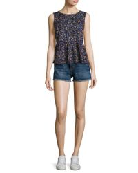 Current/Elliott - Blue Cut-off Denim Shorts - Lyst
