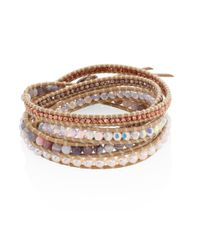 Chan Luu - Natural Grey Banded Agate, Hematine, Crystal & Leather Beaded Wrap Bracelet - Lyst