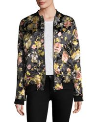 Free People - Black Floral Jacquard Bomber Jacket - Lyst