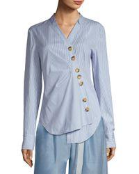 Tibi - Blue Jones Striped Asymmetrical Shirt - Lyst