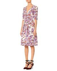 Carolina Herrera - White Floral Elbow Sleeve Dress - Lyst