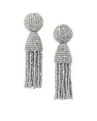 Oscar de la Renta - Metallic Short Beaded Tassel Clip-on Earrings - Lyst