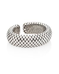John Hardy - Metallic Dot Medium Sterling Silver Flex Cuff/white - Lyst