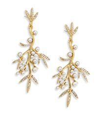 Oscar de la Renta - Metallic Faux Pearl Bamboo Leaf Drop Earrings - Lyst