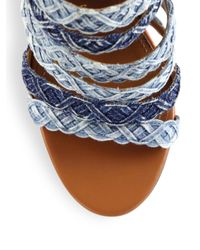 Aquazzura - Blue Tyra Strappy Denim & Leather Ankle-strap Sandals - Lyst