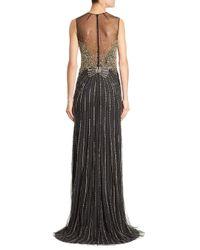 Jenny Packham - Black Beaded Illusion Gown - Lyst