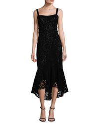 Laundry by Shelli Segal | Black Flocked Velvet Hi-lo Dress | Lyst