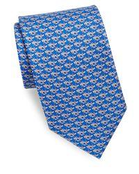Ferragamo - Blue Fox With Horseshoe Silk Necktie for Men - Lyst