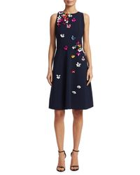 THEIA - Blue 3d Floral Mini Dress - Lyst