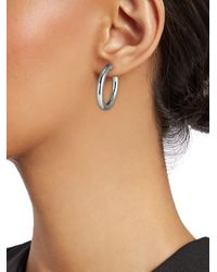 Roberto Coin - 18k Perfect White Gold Oval Hoop Earrings - Lyst