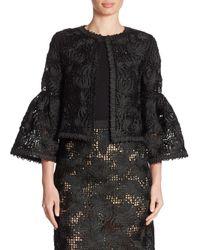 Oscar de la Renta | Black Wool & Silk Lace Jacket | Lyst