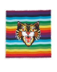 Gucci - Multicolor Crazy Tiger Silk Twill Scarf - Lyst