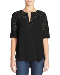 Theory - Black Antazie Eyelet Top - Lyst