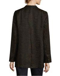 Eileen Fisher - Black Silk Blend Jacquard Jacket - Lyst