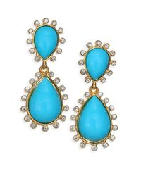 Kenneth Jay Lane - Blue Cabochon Clip-on Teardrop Earrings - Lyst