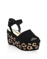 Sophia Webster - Black Suki Leopard Crystal & Suede Platform Sandals - Lyst