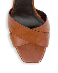 Saint Laurent - Brown Farrah Calfskin Platform Sandal - Lyst