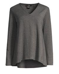 Natori - Gray Cocoon V-neck Top - Lyst