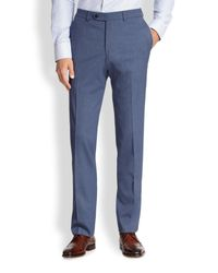Saks Fifth Avenue - Blue Stretch-wool Trousers for Men - Lyst