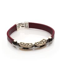 King Baby Studio - Purple Burgundy Leather & Silver Alloy Link Bracelet - Lyst