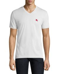 Burberry - White Lindon Solid V-neck Tee for Men - Lyst