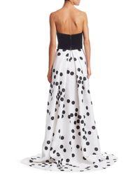 Monique Lhuillier - Women's Strapless Velvet Polka Dot Gown - Silk White Noir - Lyst