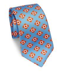 Kiton - Blue Large Geometric Floral Silk Tie for Men - Lyst