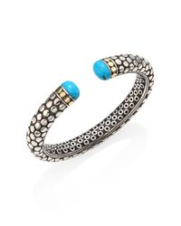 John Hardy - Metallic Dot Small Turquoise, Sterling Silver & 18k Yellow Gold Kick Cuff - Lyst