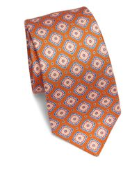 Kiton - Orange Large Medallion Silk Tie for Men - Lyst