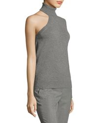 Michael Kors - Gray Cashmere One Shoulder Top - Lyst