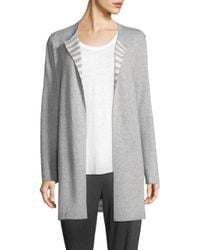 Eileen Fisher - Gray Round Neck Long Cardigan - Lyst