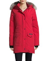 Canada Goose - Red Fur-trimmed Down-filled Trillium Parka - Lyst