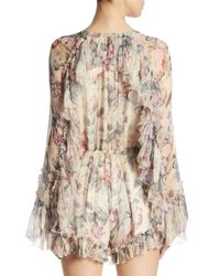 Zimmermann - Multicolor Mercer Floating Floral Silk Romper - Lyst