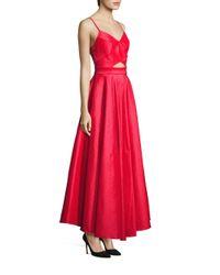 Laundry by Shelli Segal - Red Taffeta Cutout Gown - Lyst