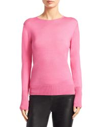 Saks Fifth Avenue - Pink Collection Basic Crewneck Sweater - Lyst