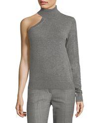 Michael Kors - Gray Cashmere One Shoulder Top - Lyst