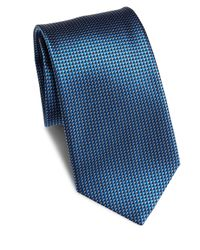 Saks Fifth Avenue - Blue Textured Silk Tie for Men - Lyst