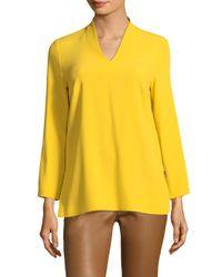 ESCADA - Yellow V-neck Tie Tunic - Lyst