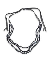Chan Luu - Blue 6mm Grey Potato Pearl, 9-10mm Cultured Freshwater Pearl, Pyrite & Mystic Lab Tie Necklace - Lyst
