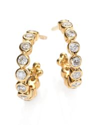 Temple St. Clair - Metallic Classic Eternity Diamond & 18k Yellow Gold Hoop Earrings/0.4 - Lyst